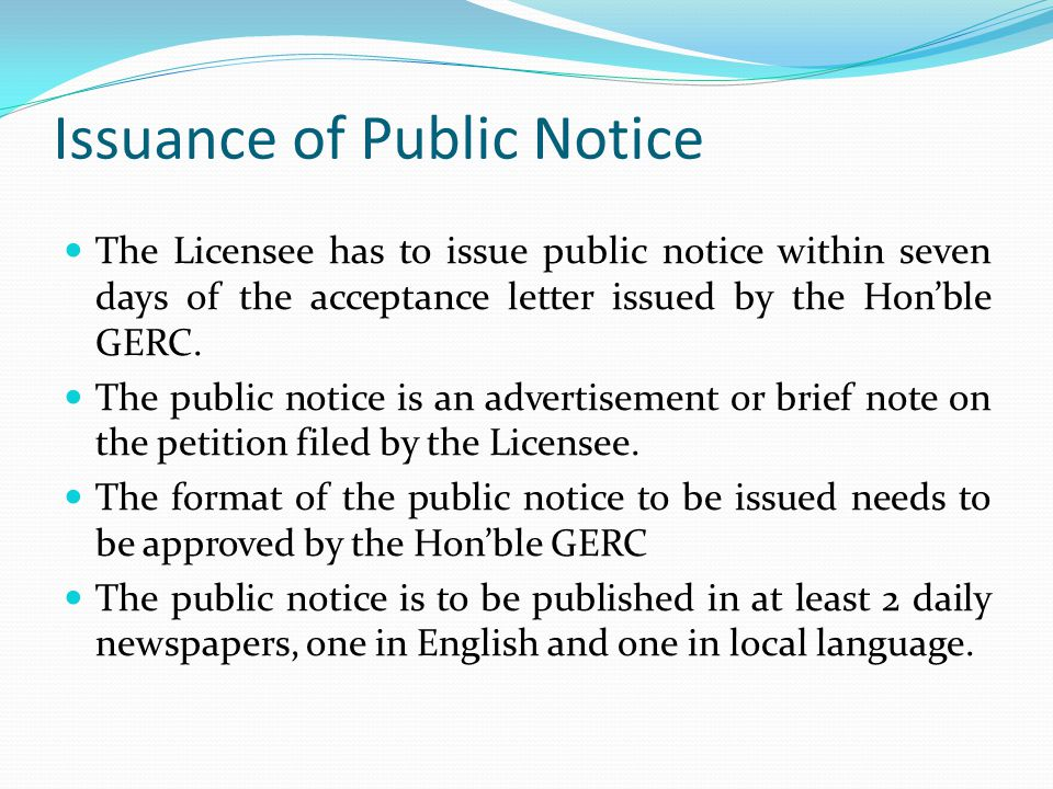 Issuance of Public Notice