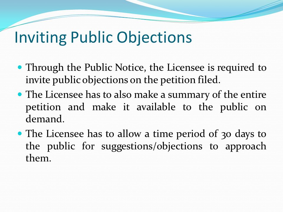 Inviting Public Objections