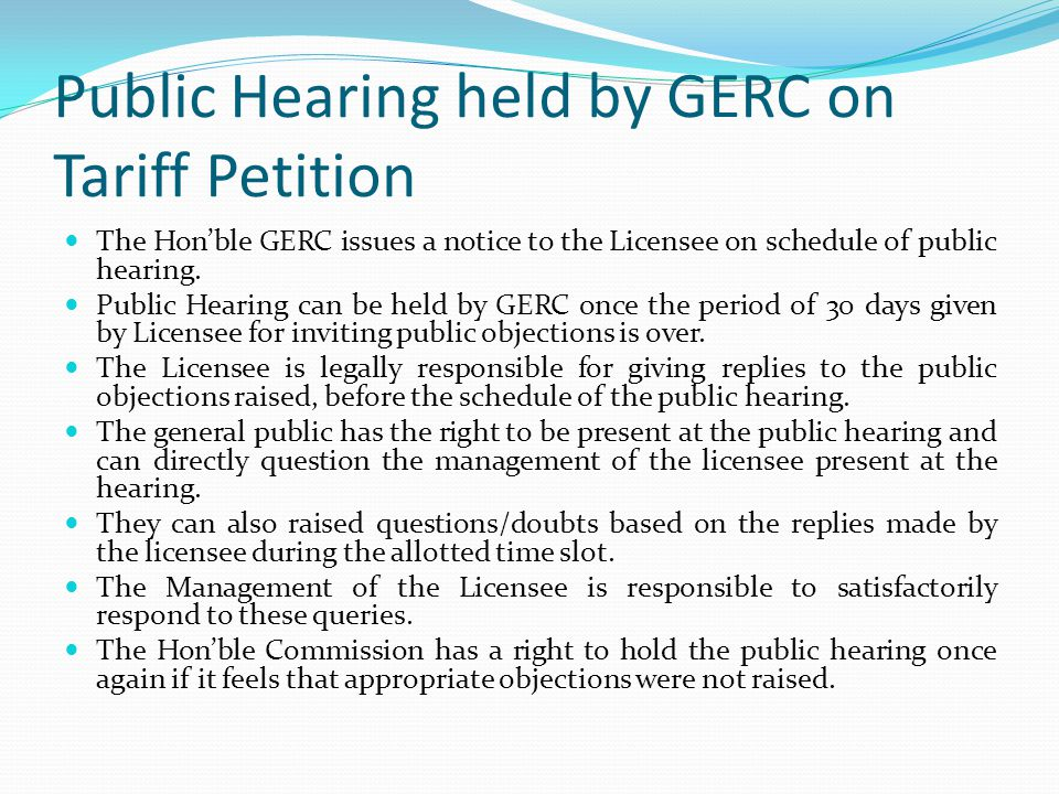 Public Hearing held by GERC on Tariff Petition