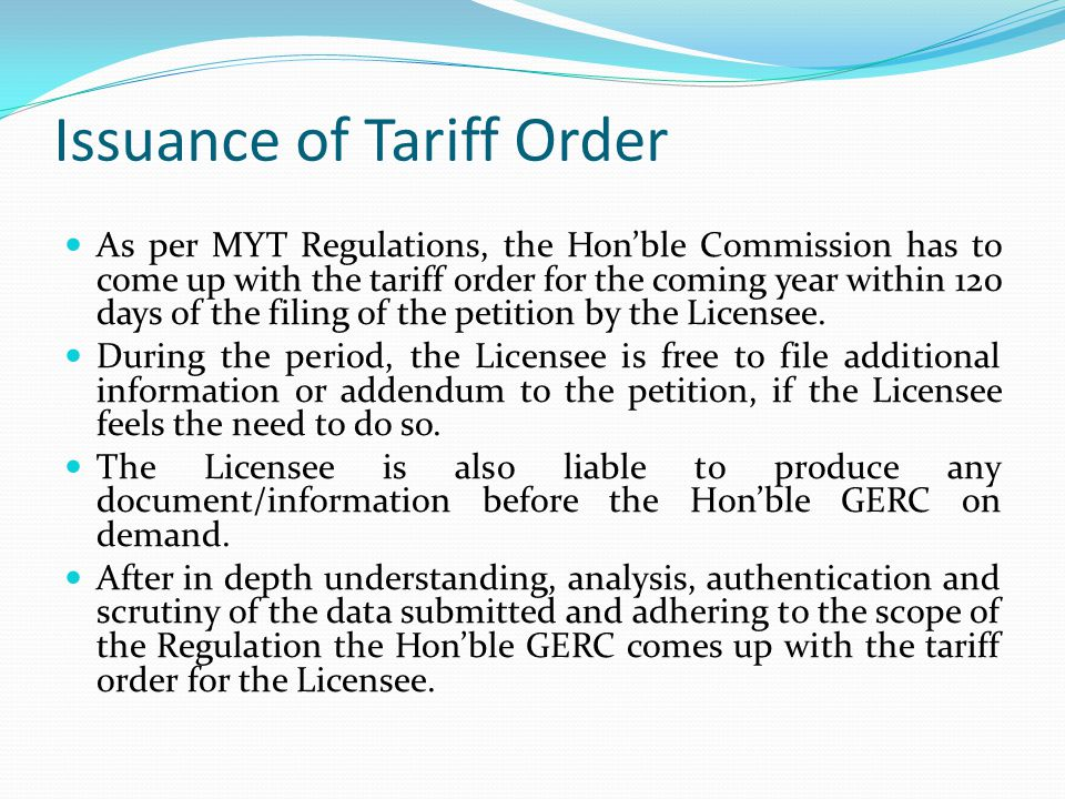 Issuance of Tariff Order