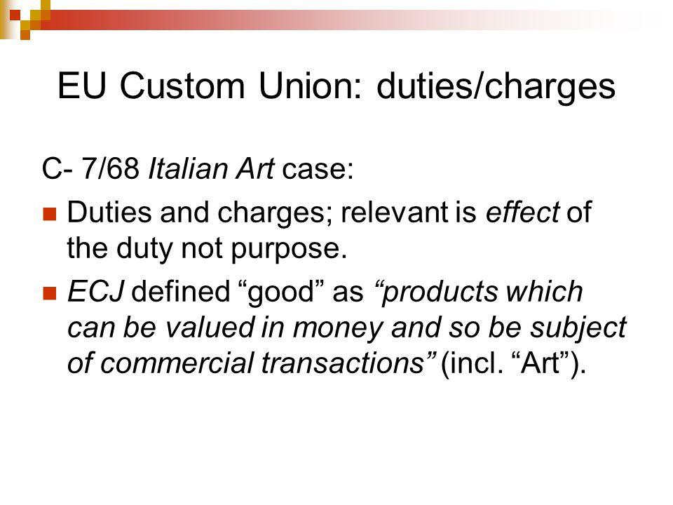 EU Custom Union: duties/charges