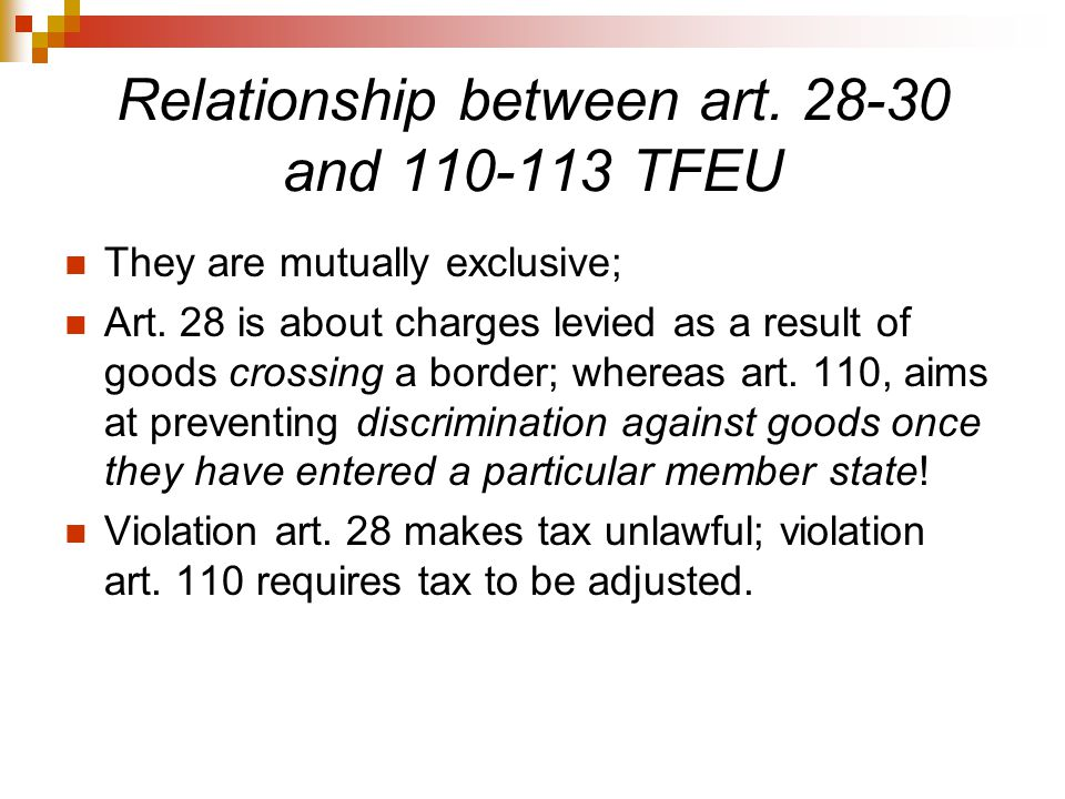 Relationship between art. 28-30 and 110-113 TFEU