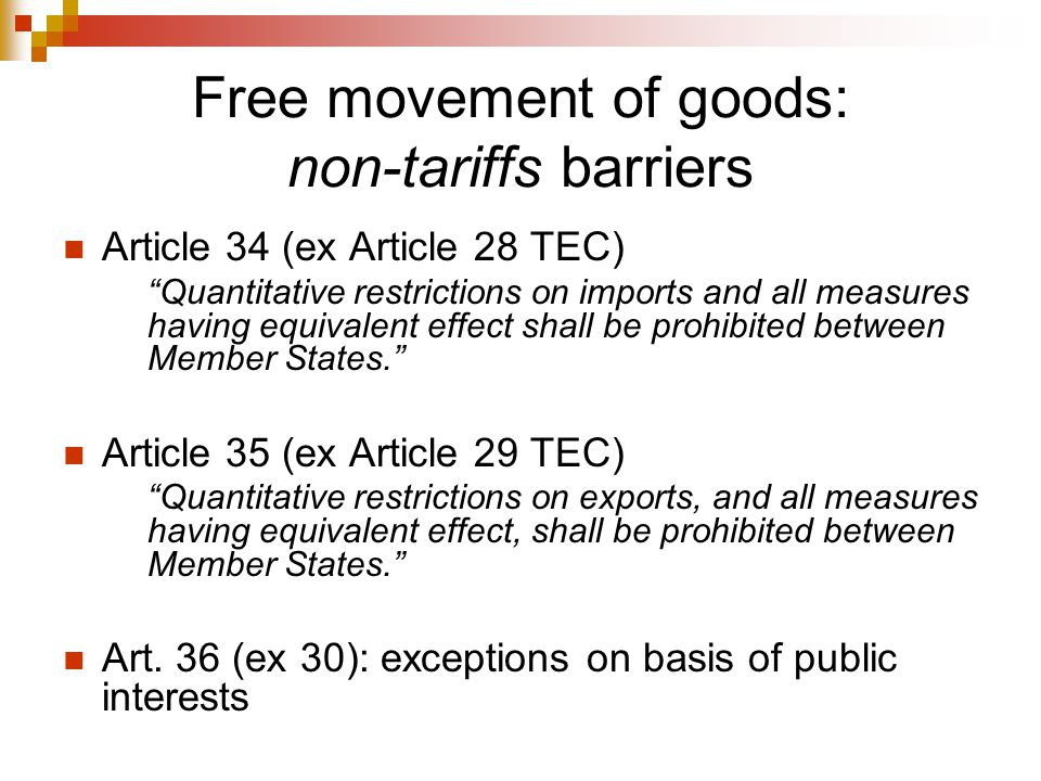 Free movement of goods: non-tariffs barriers