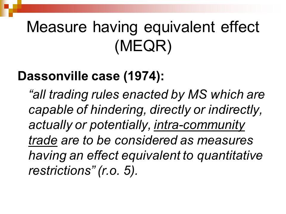 Measure having equivalent effect (MEQR)