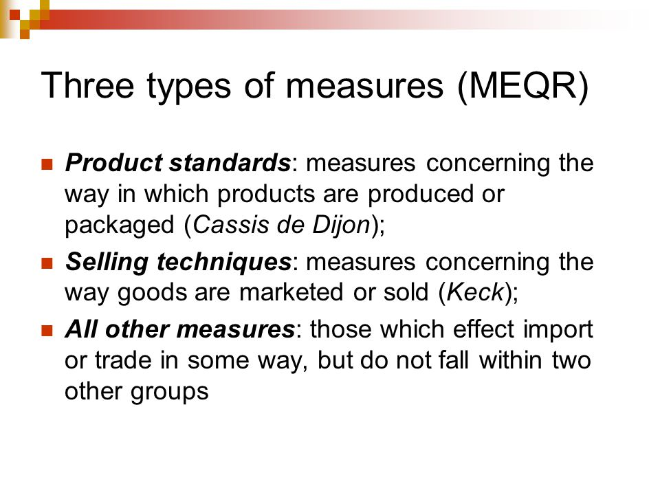 Three types of measures (MEQR)
