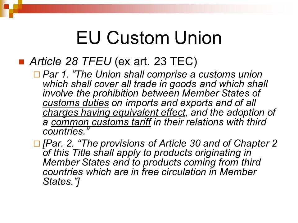 EU Custom Union Article 28 TFEU (ex art. 23 TEC)