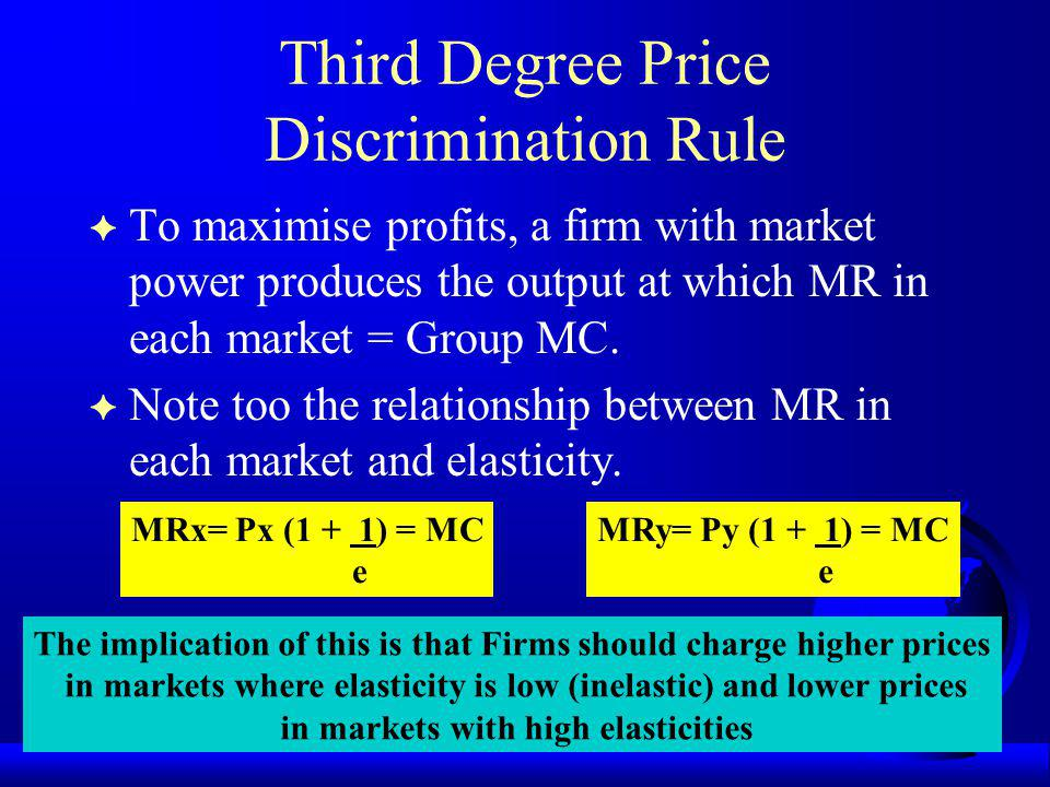 Third Degree Price Discrimination Rule