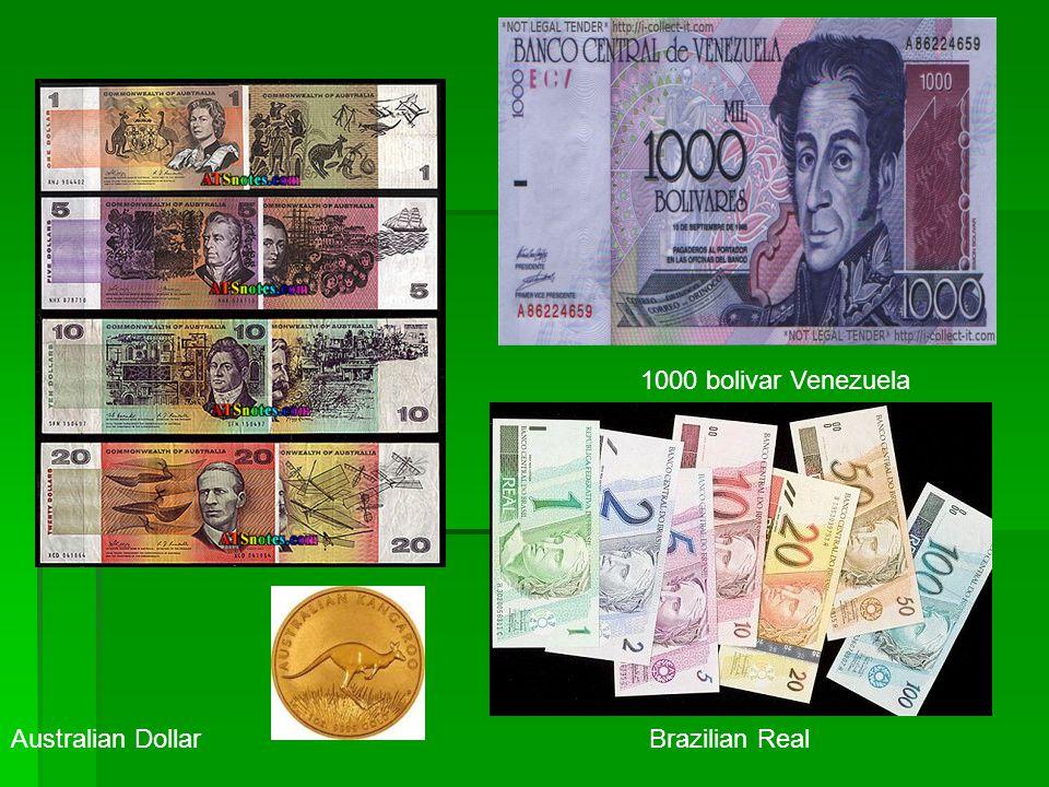 1000 bolivar Venezuela Australian Dollar Brazilian Real