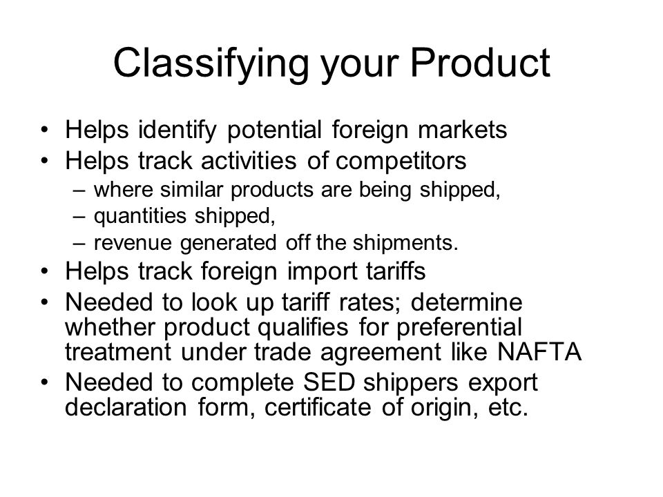 Classifying your Product