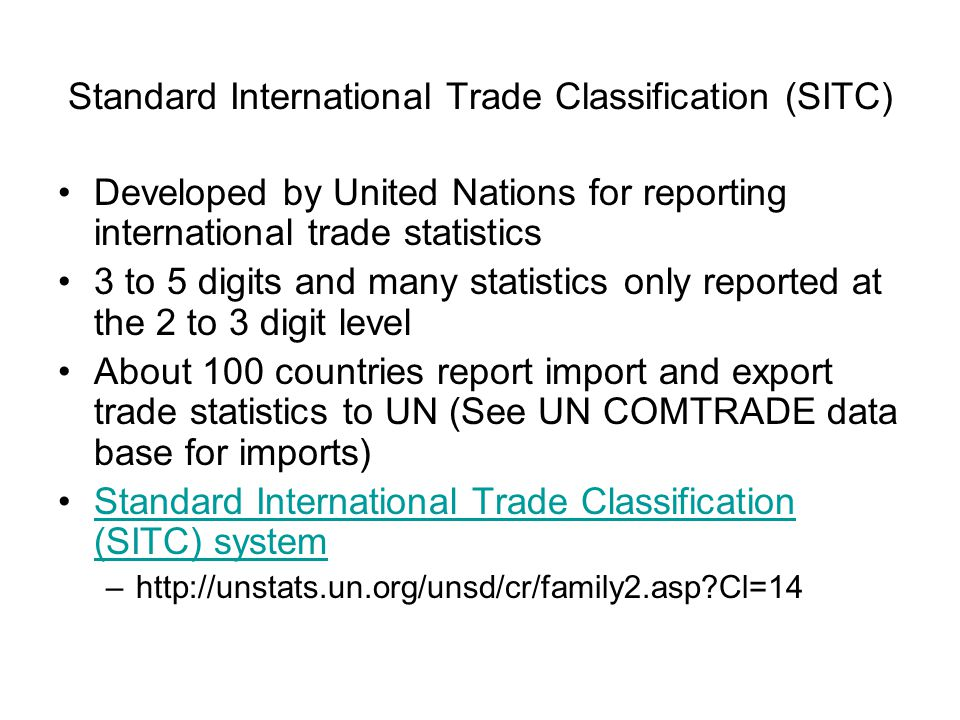 Standard International Trade Classification (SITC)