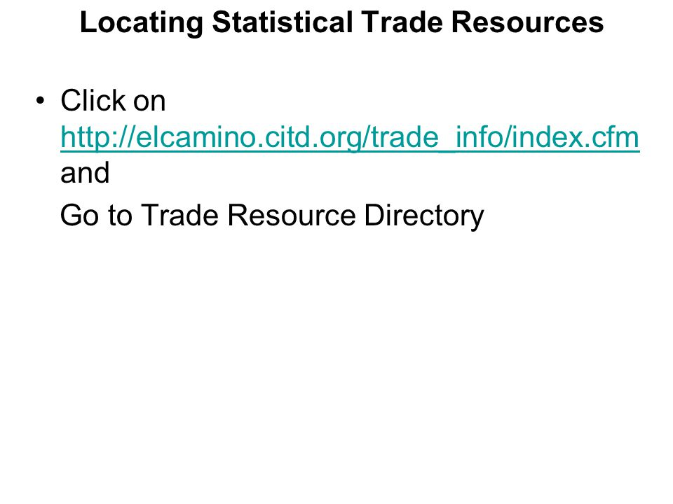 Locating Statistical Trade Resources