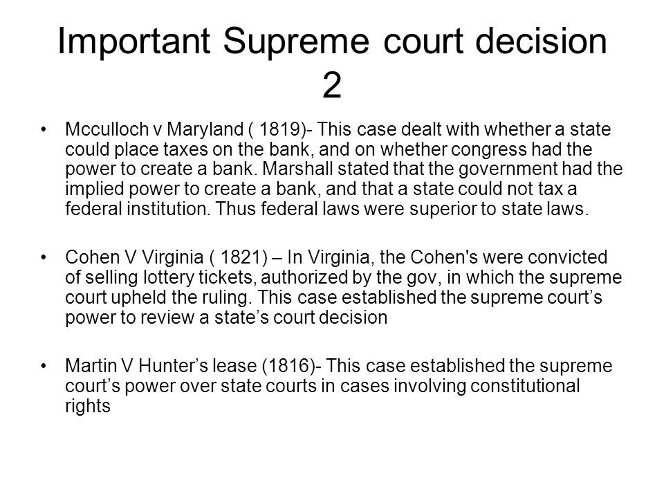 Important Supreme court decision 2
