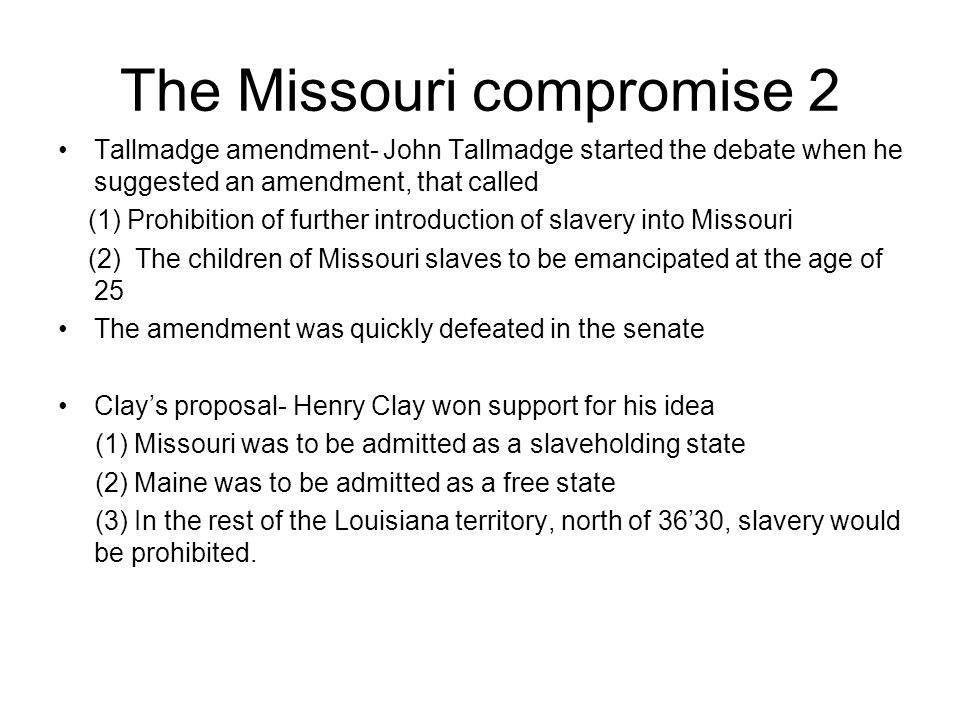 The Missouri compromise 2