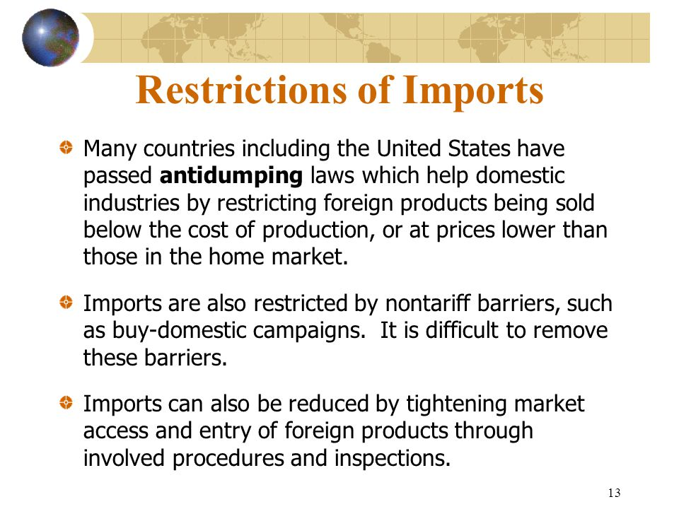 Restrictions of Imports