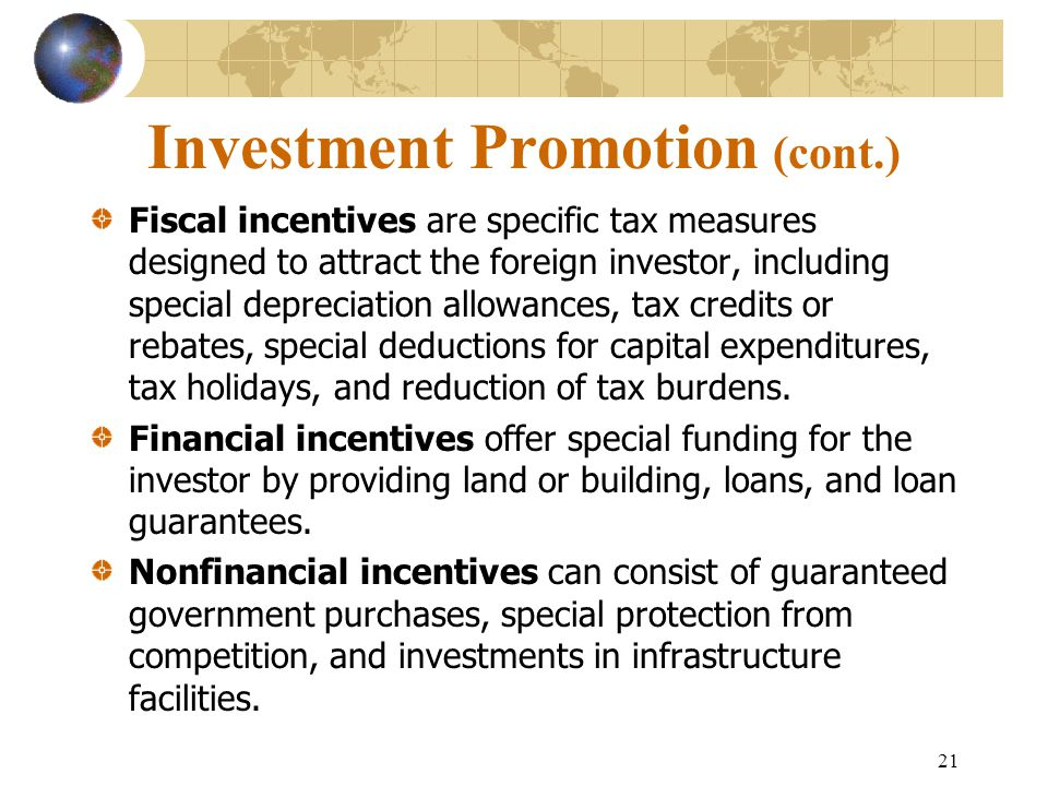 Investment Promotion (cont.)