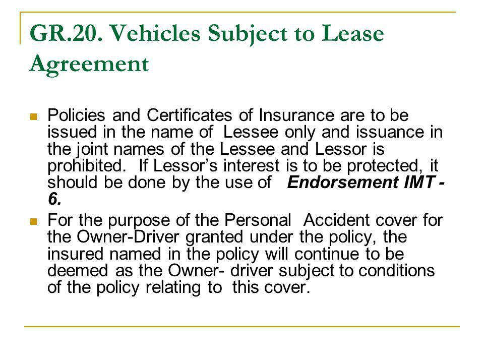 GR.20. Vehicles Subject to Lease Agreement