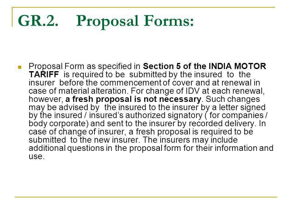 GR.2. Proposal Forms: