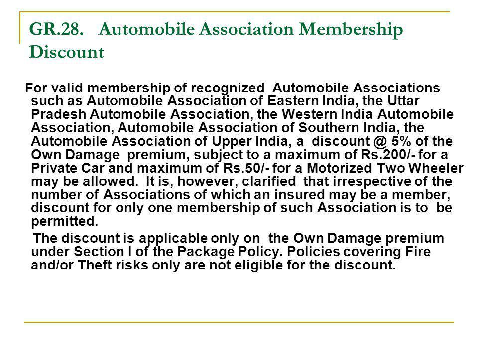 GR.28. Automobile Association Membership Discount