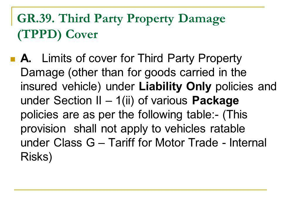 GR.39. Third Party Property Damage (TPPD) Cover