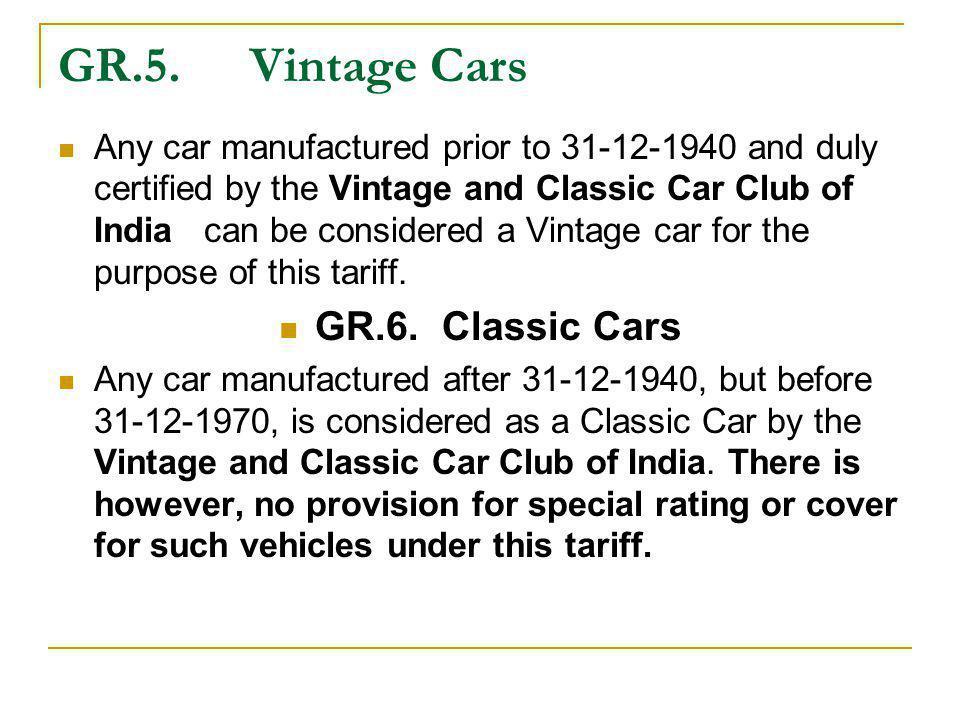 GR.5. Vintage Cars GR.6. Classic Cars