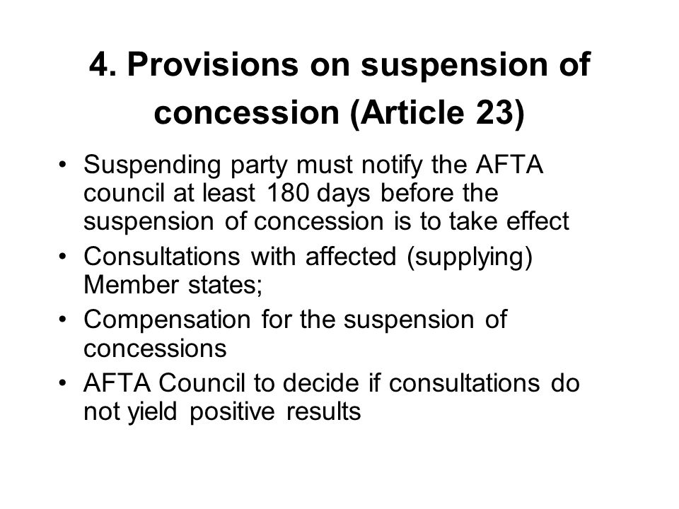 4. Provisions on suspension of concession (Article 23)