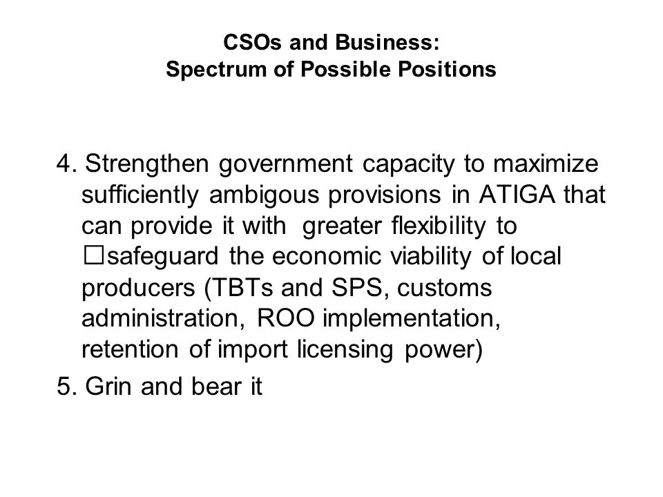 CSOs and Business: Spectrum of Possible Positions