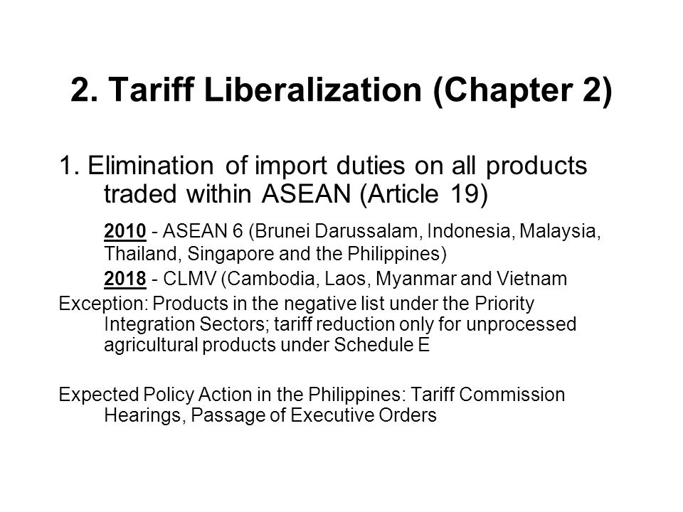 2. Tariff Liberalization (Chapter 2)