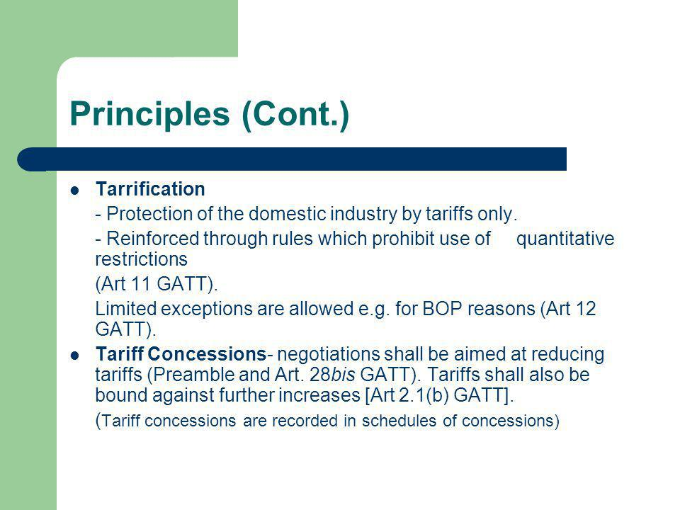 Principles (Cont.) Tarrification