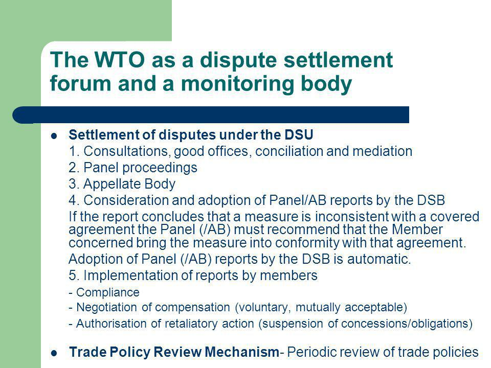 The WTO as a dispute settlement forum and a monitoring body