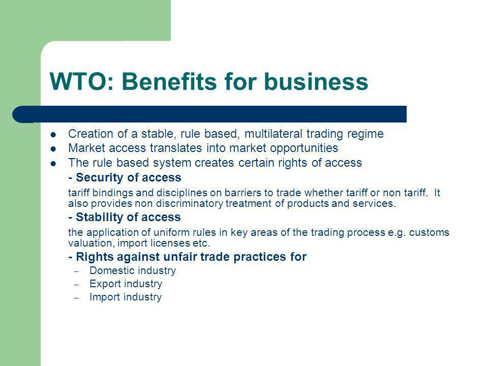 WTO: Benefits for business