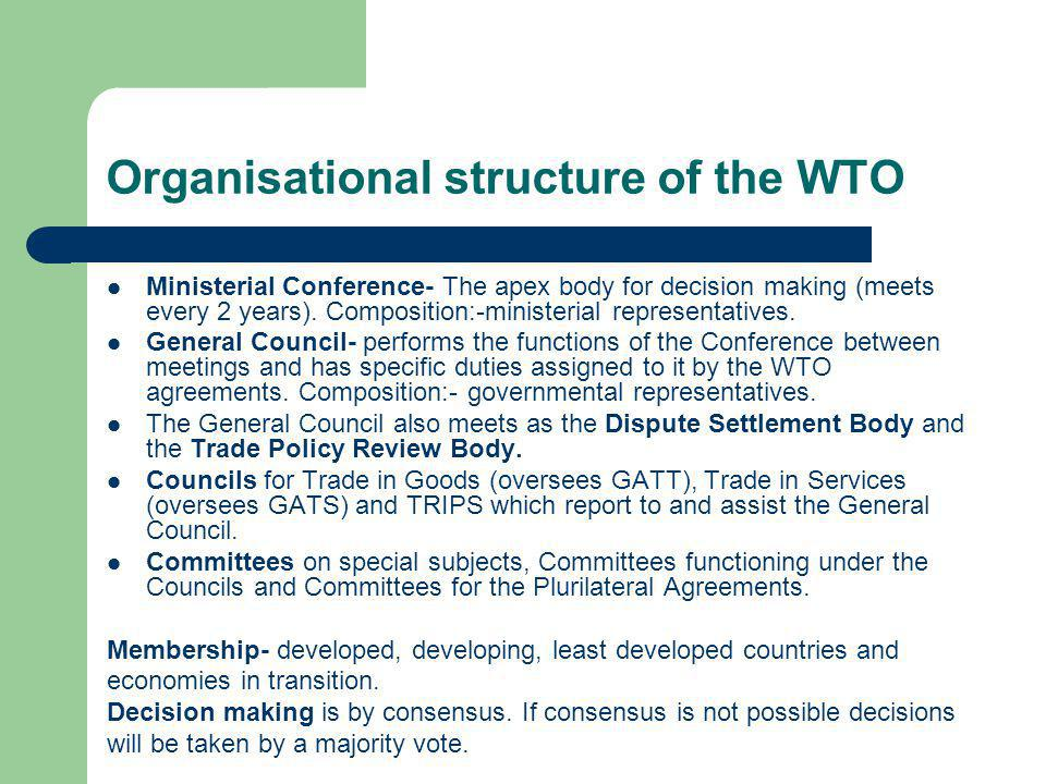 Organisational structure of the WTO
