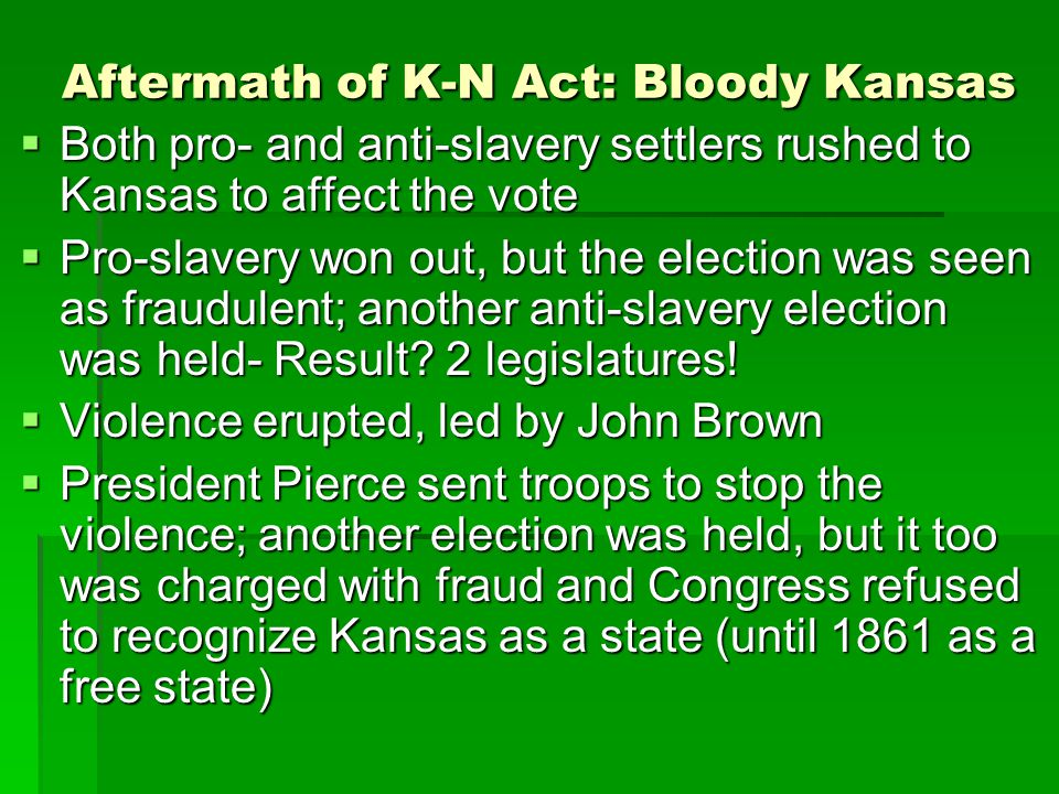 Aftermath of K-N Act: Bloody Kansas