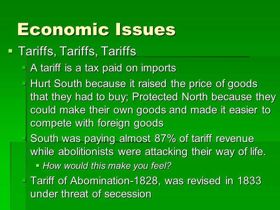 Economic Issues Tariffs, Tariffs, Tariffs