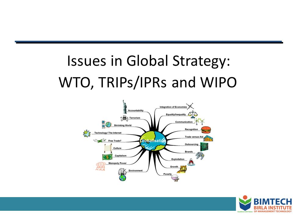 Issues in Global Strategy: WTO, TRIPs/IPRs and WIPO