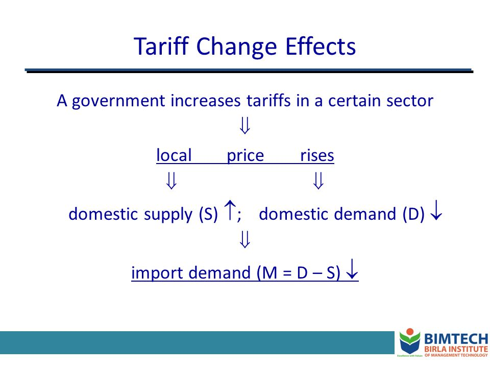 Tariff Change Effects