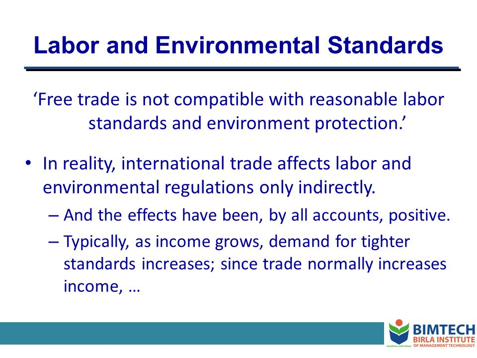 Labor and Environmental Standards