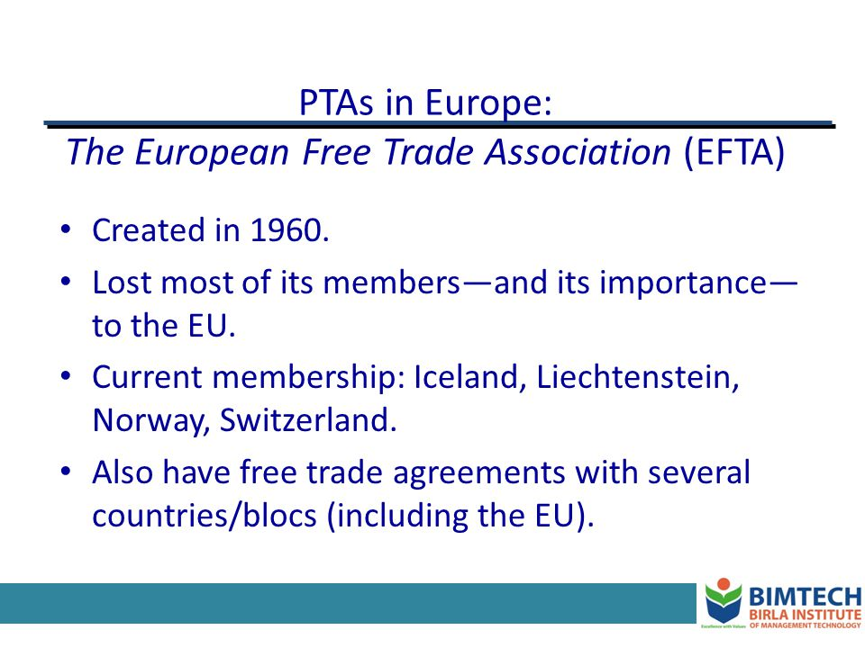 PTAs in Europe: The European Free Trade Association (EFTA)