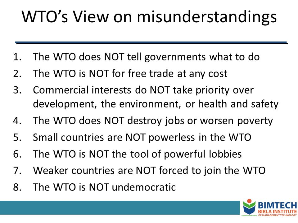 WTO's View on misunderstandings