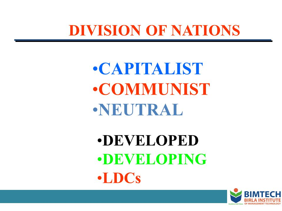 CAPITALIST COMMUNIST NEUTRAL DIVISION OF NATIONS DEVELOPED DEVELOPING