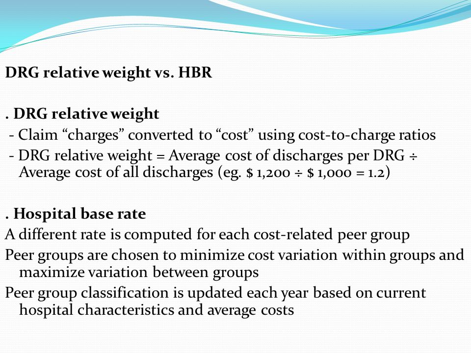 DRG relative weight vs. HBR
