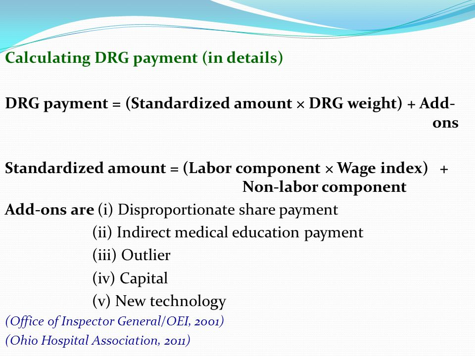 Calculating DRG payment (in details)