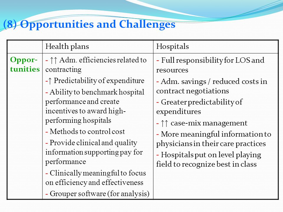 (8) Opportunities and Challenges