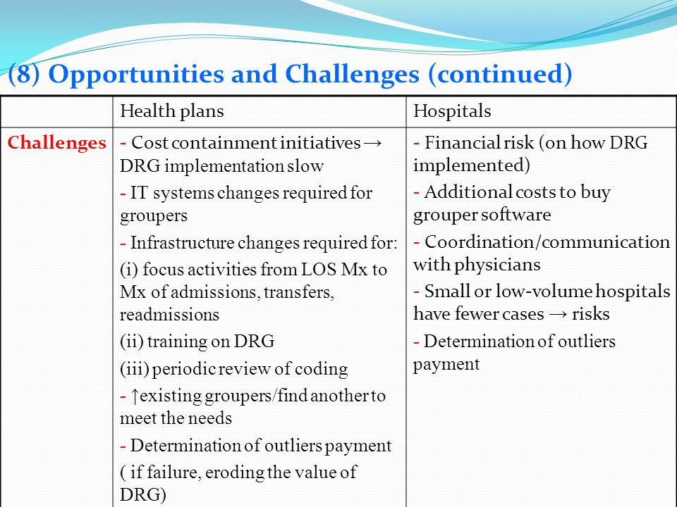(8) Opportunities and Challenges (continued)