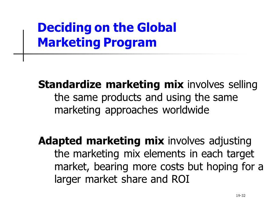 Deciding on the Global Marketing Program