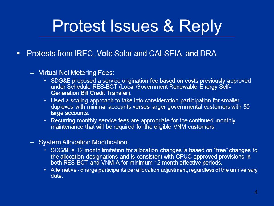 Protest Issues & Reply Protests from IREC, Vote Solar and CALSEIA, and DRA. Virtual Net Metering Fees: