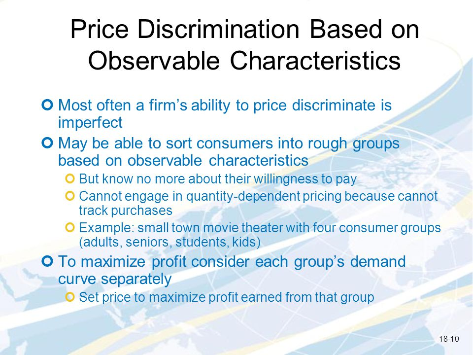 Price Discrimination Based on Observable Characteristics
