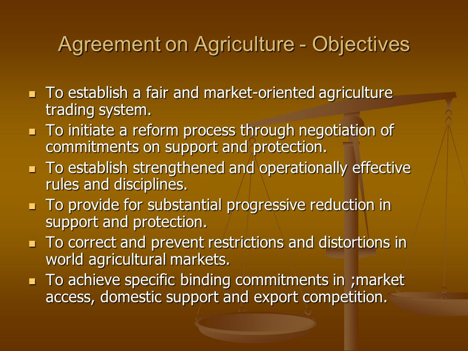 Agreement on Agriculture - Objectives