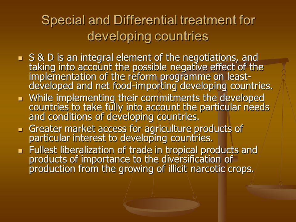Special and Differential treatment for developing countries