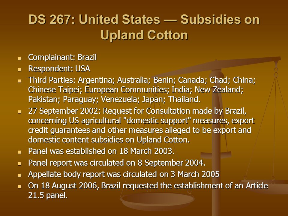 DS 267: United States — Subsidies on Upland Cotton