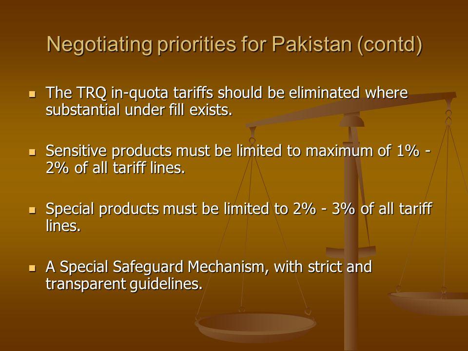 Negotiating priorities for Pakistan (contd)